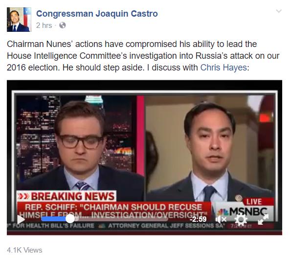 Congressman Joaquin Castro (Russia and Chairman Nunes) 3-27-2017